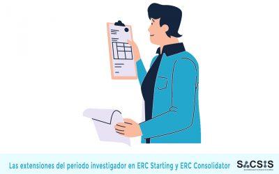 Las extensiones del periodo investigador en las convocatorias ERC Starting y ERC Consolidator