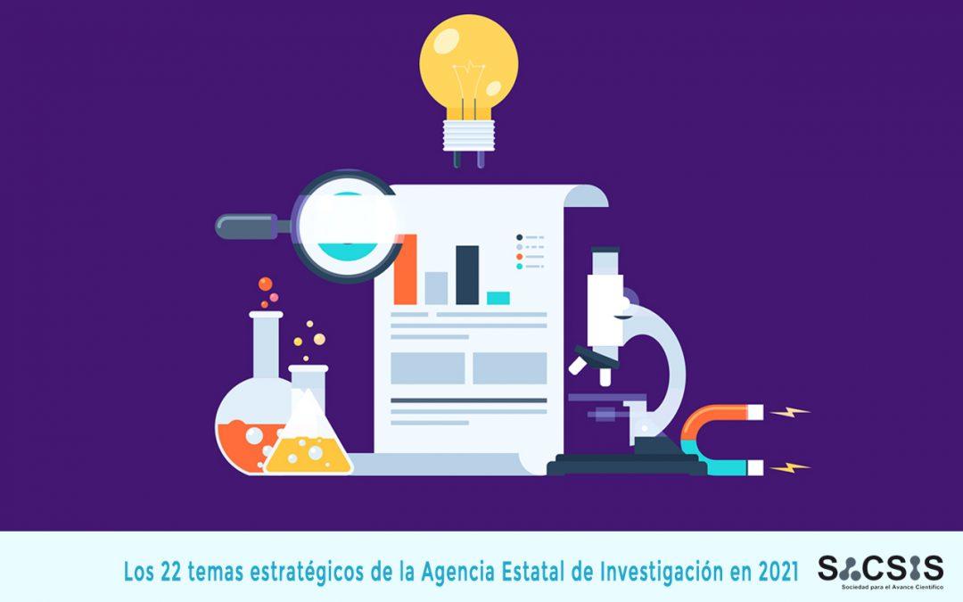¿Cuáles son los 22 temas estratégicos de la Agencia Estatal de Investigación en 2021?