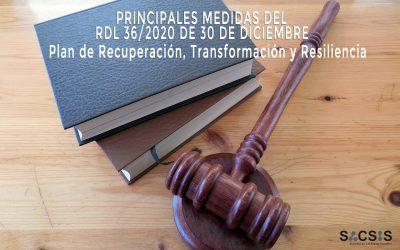 Principales medidas del RDL 36/2020 de 30 de Diciembre